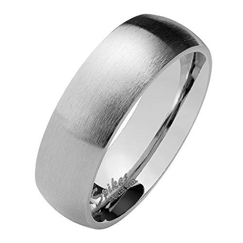 Mianova Herren Damen Band Ring Partnerring Edelstahl Verlobungsring Damenring Herrenring Matt Silber Größe 74 (23.6) Breit 8mm