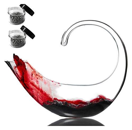 WHZG Decantador de vinos, cáufle de vino tinto 100% vidrio de cristal sin plomo soplado a mano con perlas de limpieza, regalo de vino, excelentes regalos 1200 ml 719