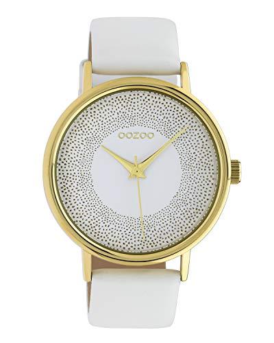 Oozoo Reloj de mujer con efecto brillante y correa de cuero 42 mm dorado/blanco C10576