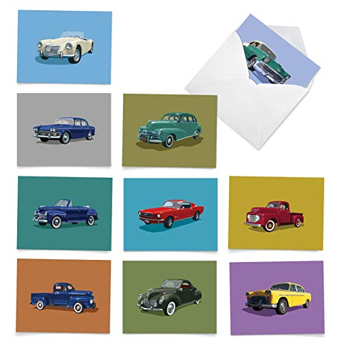 The Best Card Company - 10 Assorted Greeting Cards Blank (4 x 5.12 Inch) - All Occasion Vehicle Notecard Set - Vintage Vehicles M4182OCB-B1x10