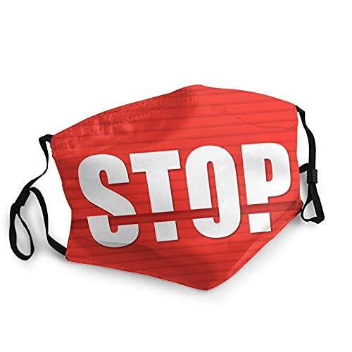 Safety Face Mask   Stop Signal Sign Red Abstract Adjustable, Washable, Reusable