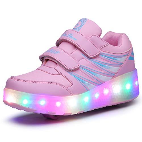 GGBLCS Unisex Niños LED Zapatos con Ruedas de Skate Luminosas Flash Zapatillas de Skateboard Ajustables 2 Ruedas Zapatos de Roller para Niños Niña,Pink 2,41 EU