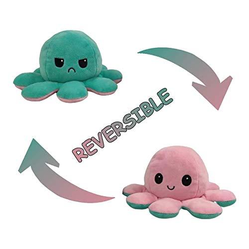 Topways Peluche Polpo Reversibile, Reversible Octopus Soft Double-Sided Flip Octopus Plush Toy, Regali Giocattolo creativi per Bambini, Ragazze, Ragazzi, Amici (Verde Chiaro & Rosa)