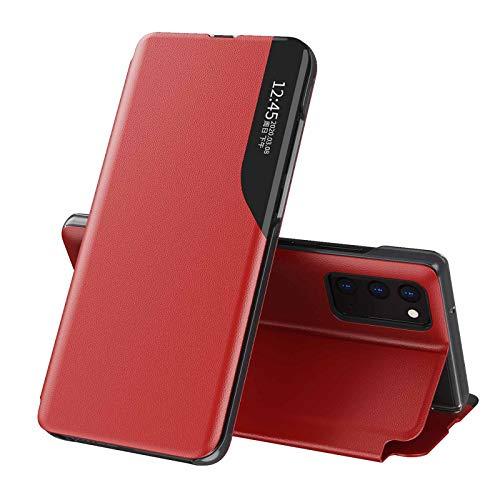 KERUN Funda para Protectora Xiaomi Redmi Note 10 5G, Funda Protectora de Espejo con Función de Sueño Inteligente, Dar la Vuelta Plegable de Concha Funda de Cuero para Teléfono. Rojo