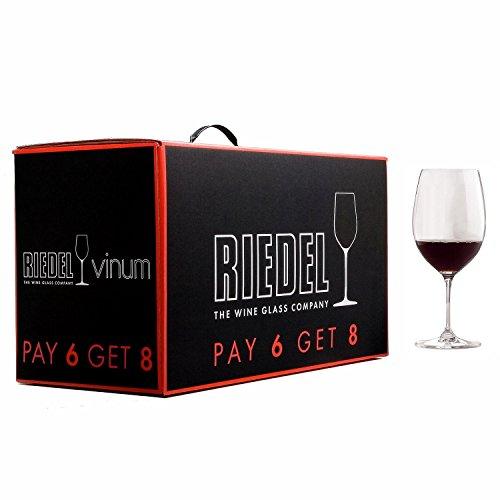 RIEDEL Vinum - Juego de 8 Copas para Vino de Burdeos