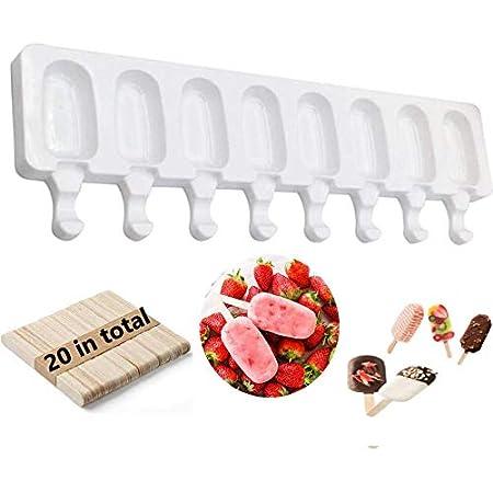 Kaishuai Moule à crème glacée 8 cellules Jus congelé en Silicone Popsicle Maker Moule à Sucette glacée avec Mini Moule à Glace20 bâtonnets en Bois