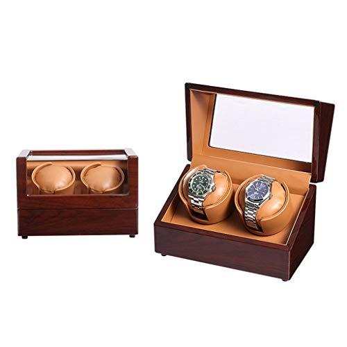 Caja de almacenamiento automática de madera de lujo, 2 + 0 cajas de almacenamiento silenciosas para el motor, pintura de piano, interior de piel sintética, organizador de 5 modos (color: B)