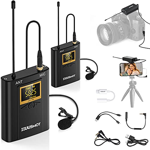 """Wireless Lavalier Microphone System - HUUSMOT Wireless Mic System with Dual Lavalier Lapel Microphone and One Mini Rechargeable Receiver 1/4"""" Output for iPhone, DSLR Camera, Video Recording"""