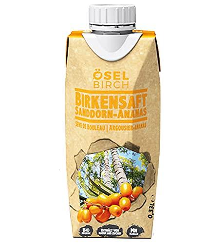 100% Natürliches Birkenwasser Für Starke Knochen - Sanddorn- Und Ananassaft - Vegan Mit Wenig Zucker - Belebende Birkensaft-Getränke Für Bindegewebe Stärke Von ÖselBirch - Packung Mit 8 - 8 × 0,33L
