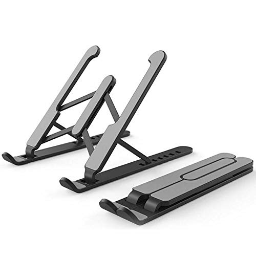 """NoneBrand Laptop Stand, Universal Lightweight Adjustable Aluminum Tablet Stand, 6 Angles Adjustable Aluminum Ergonomic Foldable Portable Laptop Holder Compatible 10""""-17"""" Devices (Black)"""