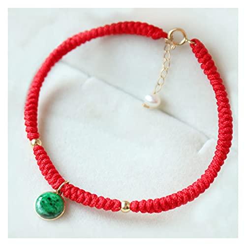 Cadena de jade verde picante con incrustaciones de oro 18k, retro y elegante cadena de clavícula ajustable, pulsera de cadena roja para temperamento joyería femenina de todo coincidencia (set)
