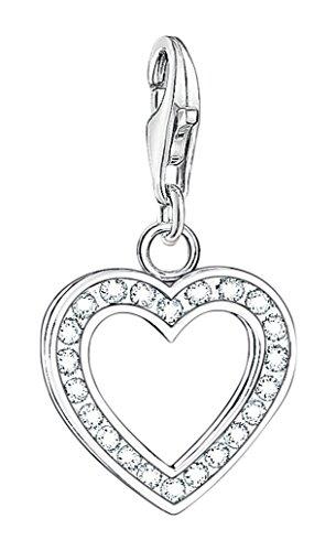 Thomas Sabo Damen-Charm-Anhänger Herz Charm Club 925 Sterling Silber Zirkonia weiß 0018-051-14