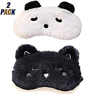 2 PACK Cute Sleep Mask - Panda Cat Soft and Warm Animal Plush Blindfold Eye Cover Eyeshade Christmas Gifts for Kids Girls Women, for Travel, Washable