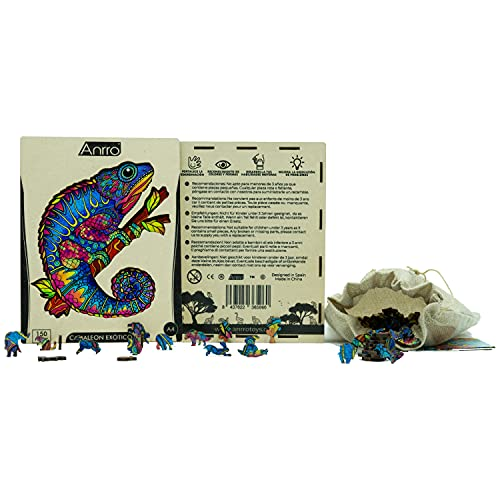Puzzle de Madera Animales para Adultos, Tamaño A4, Incluye Poster - Rompecabezas para niños | Pasatiempos Familiar (Camaleón Exótico) 150 Piezas