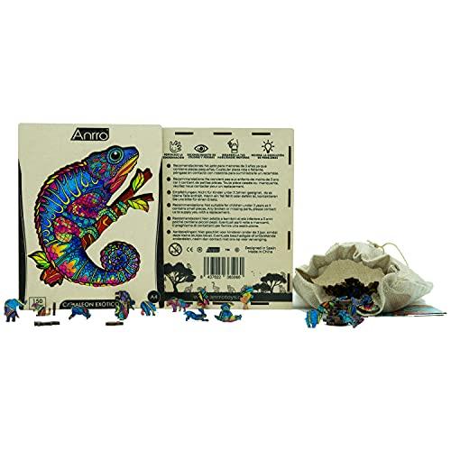 Puzzle di legno per adulti, formato A4, con poster – Puzzle per bambini | hobby familiare (Camaleonte esotico) 150 pezzi