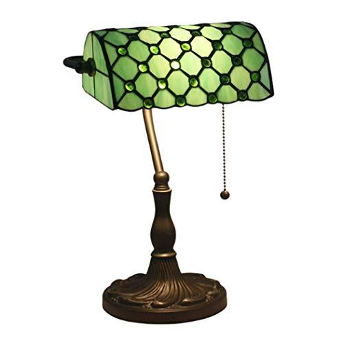 Lámpara de mesa de banquero de la vendimia de 11 pulgadas de la lámpara de vidrio estilo E27 Lámparas de escritorio de la base de zinc Lámpara de noche para la cama para la sala de estar 110V-240V, ve