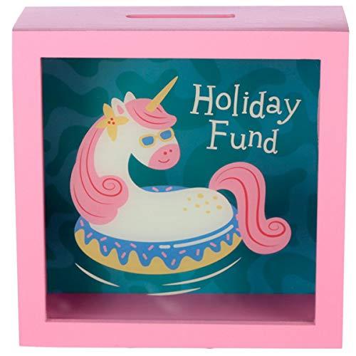 Spardose Holiday Einhorn mit Sichtfenster, Sparkästchen zum Hinstellen, niedliches Urlaubs-Motiv für Geldgeschenk, 18 x 18 x 7 cm, Holz und Kunststoff, prima Geldgeschenk oder für Einhorn-Fans.