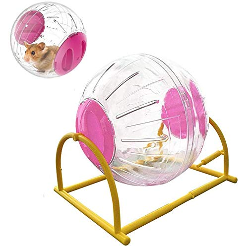JUILE YUAN 5.9 inch Big Silent Run Ball - Small Animal Hamster Run Exercise Ball Toy, Transparent Hamster Running Ball Dog Special Toy Ball with Automatic Light (Bracket Pink)
