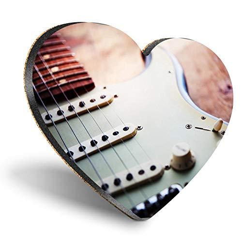 Posavasos con forma de corazón MDF, para guitarra, músico, de calidad brillante, protección de mesa para cualquier tipo de mesa #8326