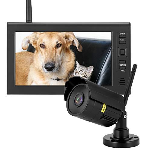 Cámara de Seguridad Inalámbrica para Exteriores, 7 Pulgadas LCD WIFI 4CH 2.4Ghz Cámaras de Vigilancia HD Home Video Security System Monitor Cámaras Inteligentes IR Pantalla con Tarjeta 8G TF(UE)