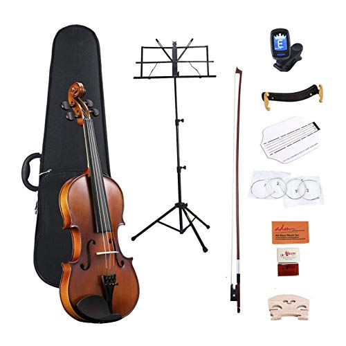 Product Image of the ADM Full Size 4/4 Acoustic Violin Set Solid wood Ebony with Hard Case, Rosin,...