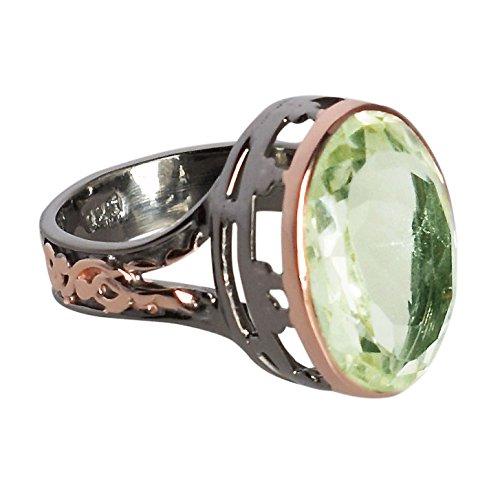 Anillo chapado en oro rosa de rodio negro de plata esterlina 925 amatista verde...