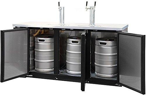 Kegco Kegerator Commercial Three Keg Beer Cooler Refrigerator - Three Faucet