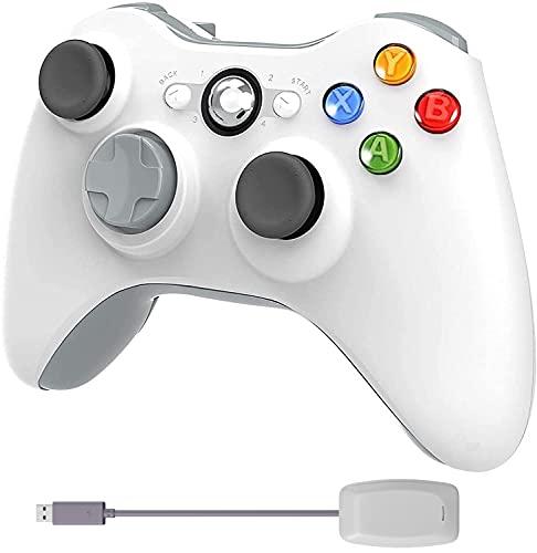 Manette sans Fil pour Xbox 360 avec Adaptateur de Recepteur pour Xbox 360 Slim et PC Windows 7/8/10, Blanche