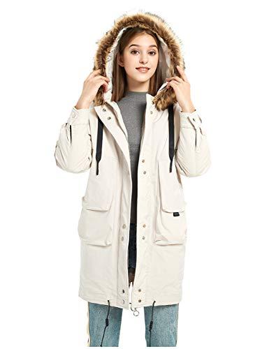 ilishop Women's Thickened Long Down Jacket Hooded Parka Winter Puffer Coat Beige L