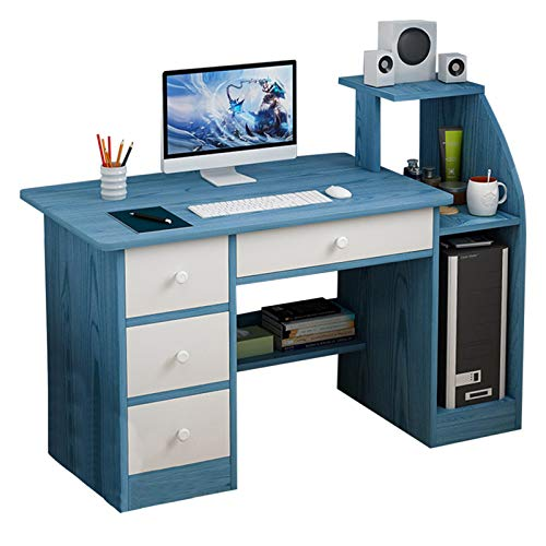 US Spot, Computer Desk with 4 Drawers, Modern Writing Desk Pc Laptop Table Sturdy Office Desk Workstation with Bookshelf Host Storage, Gaming Table for Living Room Bedroom (Blue)