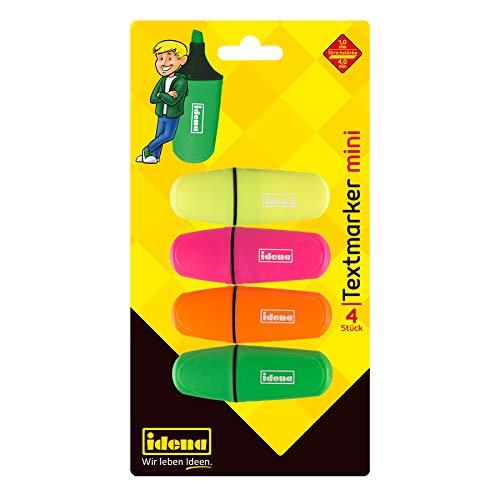 Idena 12081 - Textmarker Mini, in 4 Farben, gelb, pink, orange und grün