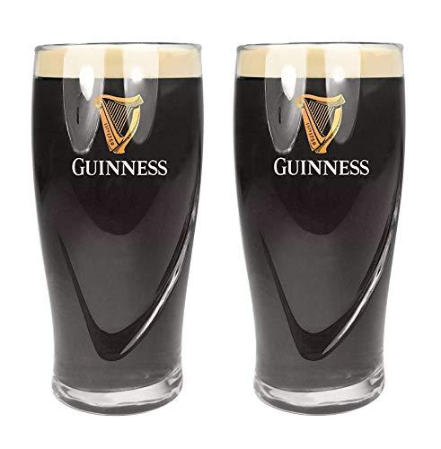 Bicchiere da birra originale Guinness con logo e marchio impressi in rilievo, capacità 1 pinta (568 ml), 2 pezzi