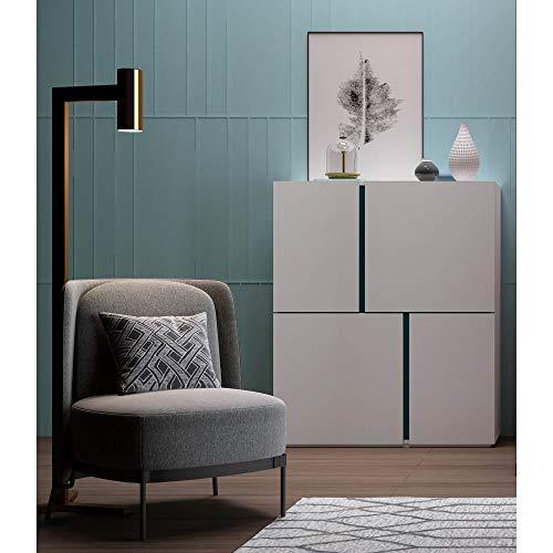 Mobilier Déco Elor - Aparador de Alto diseño con 4 Puertas, Color Blanco y Azul