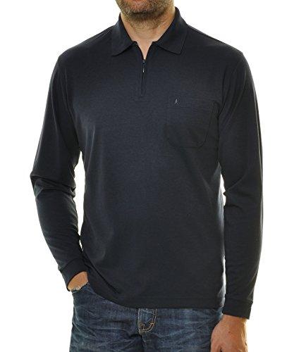 Ragman Herren Softknit-Poloshirt Langarm mit Zip M Marine