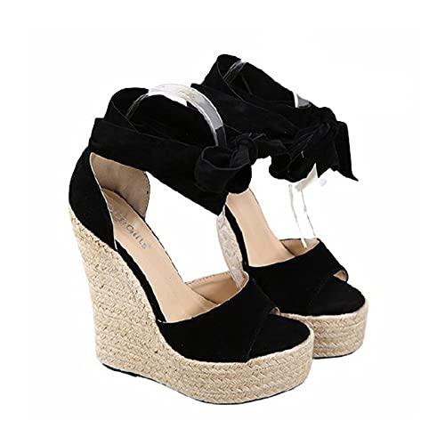 Sandali estivi da donna con tacco alto Sandali con zeppa alla moda con cinturino incrociato nero con plateau e sandali con zeppa da spiaggia espadrillas