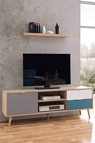 lifestyle4living Lowboard in Sonoma Eiche-Nachbildung, TV-Board mit extravagant abgesetzten Fronten in weiß, grau und Petrol, Fernsehtisch mit 2 Schubladen und 1 Tür