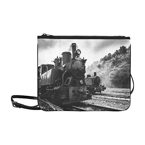 WYYWCY Jahrgang schwarz dampfbetriebene Eisenbahn Zug Muster benutzerdefinierte hochwertige Nylon dünne Clutch Cross Body Bag Umhängetasche