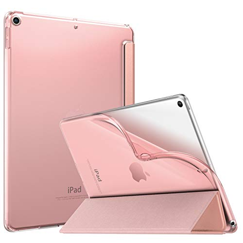 """MoKo Funda Compatible con New iPad Air (3rd Generation) 10.5"""" 2019, Ultra Delgado Función de Soporte Protectora Plegable Cubierta Inteligente Trasera Transparente para New iPad Air 3 2019 - Oro Rosa"""