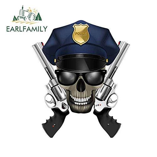 JYIP 13cm x 10 9 cm para cráneo con Gafas de Sol de Coche de policía Pegatina de Vinilo con Revestimiento para Coche oclusión Impermeable decoración para arañazos-Style_A