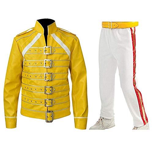 Fashion_First Traje de cuero para hombre Freddie Mercury Jacket Queen Tribute Wembley Concert, Disfraz de Freddie Mercury, M
