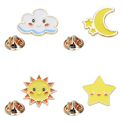 TENDYCOCO 4 stks Sky Thema Broches Cloud Star Moon Sun Design Corsage Leuke Kleding Pin voor Vrouwen Meisjes