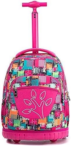 YEXIN Kinder drucken Muster Trolley Schultasche - Wasserdichte rollende Rollrucksack für mädchen und Jungen Schule Laptop Bücher Tasche, 2 R rn Nylon Schulrucksack