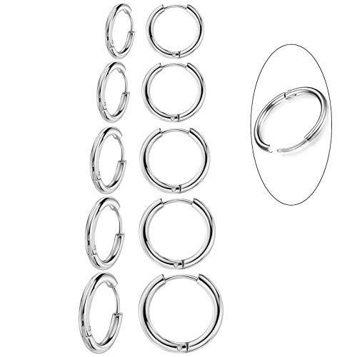 5 Pairs 316L Surgical Stainless Steel Small Hoop Earrings Set Hypoallergenic Cartilage EarringEndless Tragus Earrings for Women Men Girls(10mm/12mm/14mm/16mm/18mm)