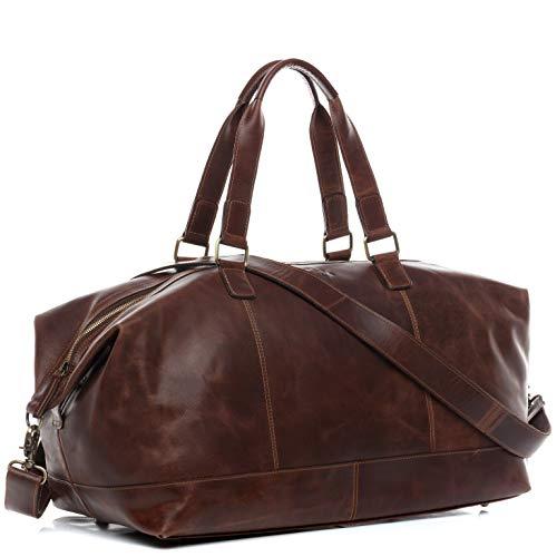 SID & VAIN borsa viaggio tracolla vera pelle LOGAN grande borsone bagaglio a mano sportiva 55 l duffle bag weekend uomo donna cuoio marrone