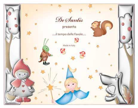 Cadre photo à jour – Baby Collection – Ligne contes – Rouge – Photo cm 20 x 20 Retro bois Bi laminé argent Made in Italy