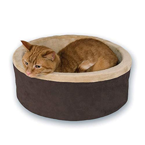 K&H Pet Products Thermo-Kitty Heated Cat Bed Small 16 Inches Mocha/Tan