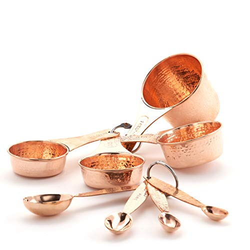 Old Dutch 771 Solid Copper Set of 4 Measuring Cups Spoons, one size