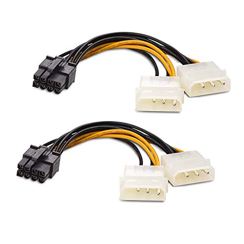 Cable Matters 2-Pack 8-Pin PCIe to Molex (2X) Power Cable 4 Inches