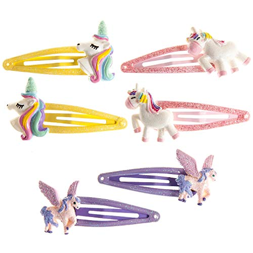 Unicorn Snap Hair Clips 6Pcs Little Girls Toddlers Kids Hair Clips,Unicorn Party Birthday Gift
