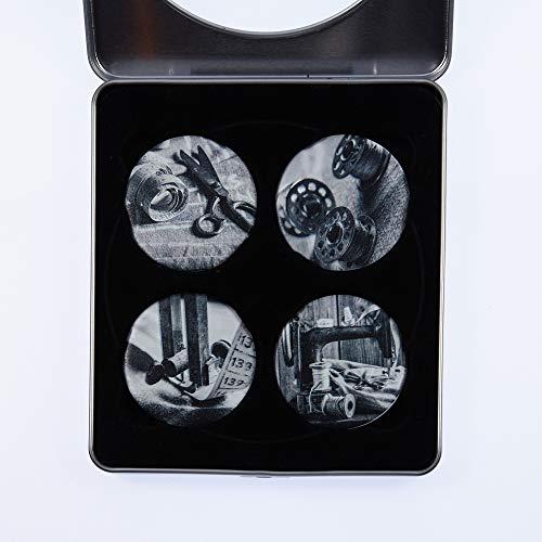 Patroon gewichten. Zwarte en witte naai-ontwerpen. Verpakkingsinhoud: accuschroefboormachine met klopfunctie en 3 snelheden, 1 stuks, Geïnspireerd door The BBC Sewing Bee. Diameter: 50 mm.